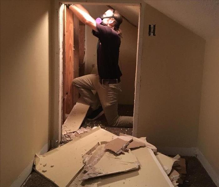 man wearing masks removes drywall in attic with mold on it