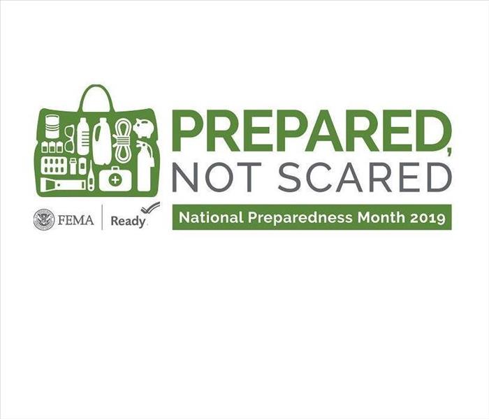 2019 National Preparedness Month Logo. It says prepared not scared and has a picture of an emergency kit full of supplies.
