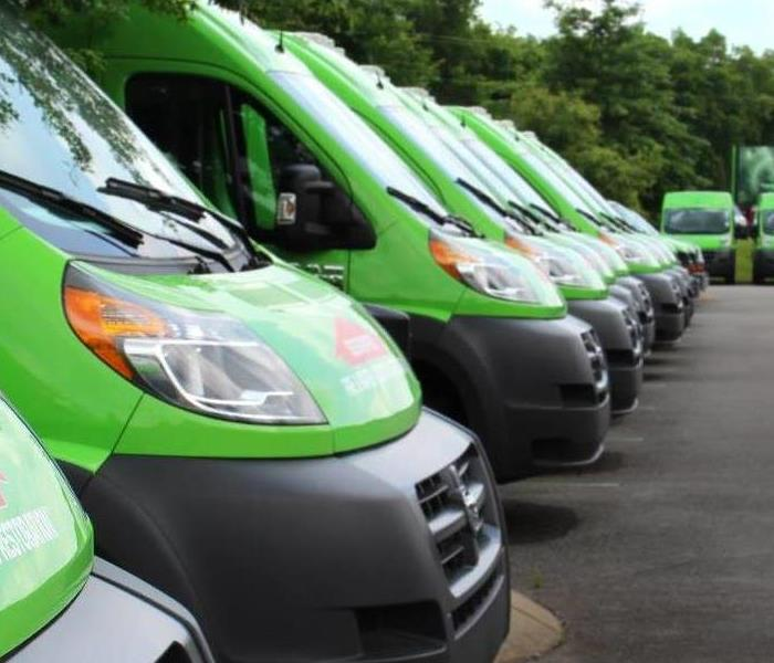 Row of green SERVPRO trucks